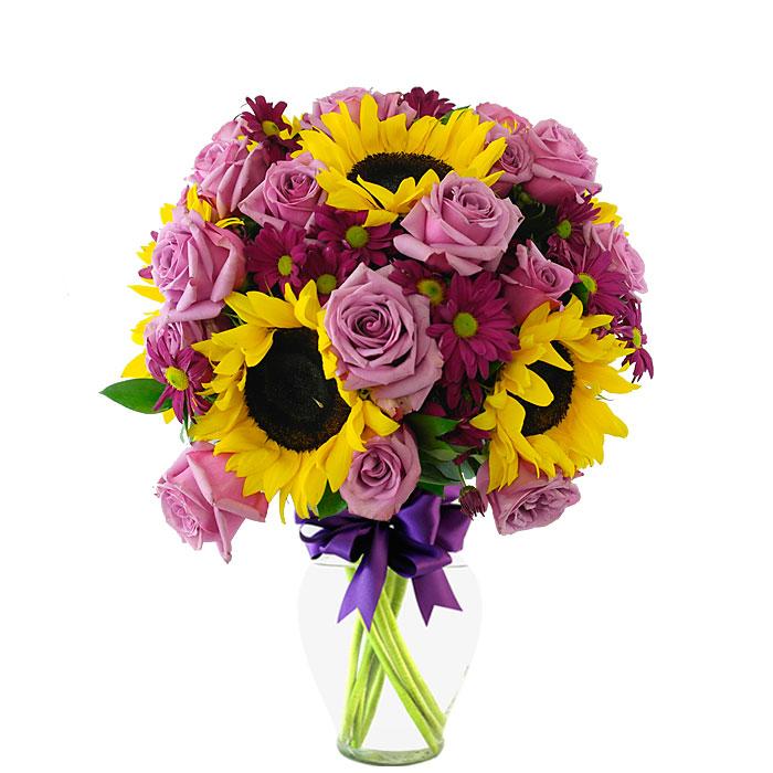 Arreglo Floral Con 18 Rosas Moradas Girasoles Y Gerberas