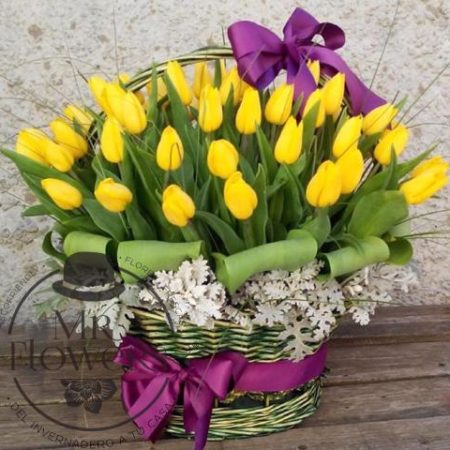 Canasta de tulipanes Amarillos