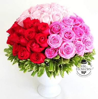 Arreglo con 100 Rosas 4 colores